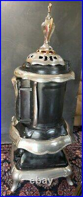 1800's Great Western Cast Iron, Copper & Nickel Wood Burning Parlor Stove 63 H