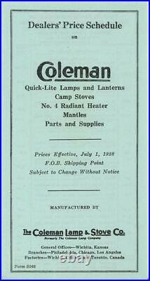 1928 COLEMAN QUICK-LITE CATALOG + DEALER PRICE LIST VG Lamps Lanterns Stoves