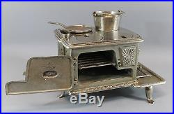 19thC Antique N. S. Cate LITTLE EVA Nickel-Plated Cast Iron Miniature Toy Stove