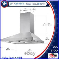 30 Inch Stainless Steel Wall Mounted Kitchen LED Lamp Range Hood Vent 350CFM New