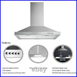 30 Inch Wall Mount Stainless Steel Kitchen Range Hood Stove Exhaust Air Cook Fan