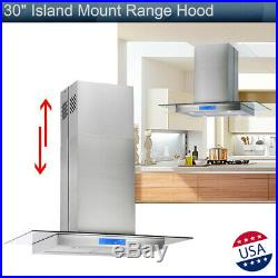30 Stainless Steel Island Mount Range Hood 870CFM with Tempered Glass Touch Panel
