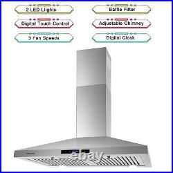 30 Wall Mount Range Hood 350 CFM 3 Speeds Exhaust Fan Kitchen Over Stove Vented