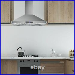 30 Wall Mount Range Hood Touch Control Kitchen Stove Vented Household LED Lamps