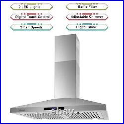 30 inch Kitchen Range Hood Wall Mounted 350 CFM Touch Control Vented LCD Display
