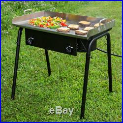 32 Double Burner Propane Gas Outdoor Griddle Camping Stove Grill LP Stove Range