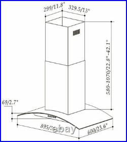 36 Stainless Steel Island Mount Range Hood 900 CFM Glass Mechanical Control New