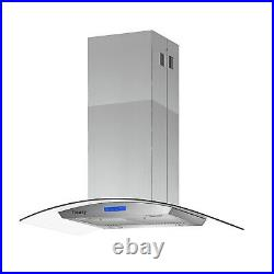 36 in Island Mount Range Hood 900CFM 4 LED Lamps with Glass LCD Touch Control