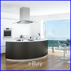 36 island Mount Kitchen Range Hood Stainless Steel Tempered Glass with LED Lights