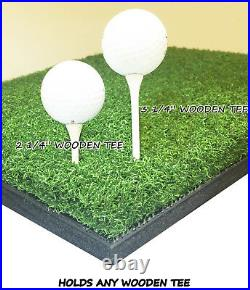 4' x 4' Golf Chipping Driving Range Tee Line Practice Mat Holds A Wooden Tee
