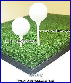 5' x 5' Elite Wood Tee Grass Golf Mat Chipping Driving Range Practice Ball Tray