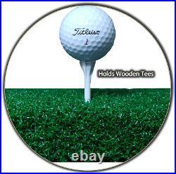 5' x 5' Wood Tee Elite Grass Golf Mat Chipping Driving Range Practice Ball Tray