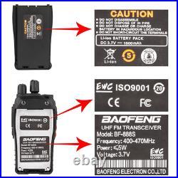 6 Set Long Range Walkie Talkie 50 Mile Two Way Radio Charge Headset Waterproof