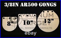 8,10&12in 3/8 AR500 Hardened Metal Gongs-Steel Shooting Range NRA Pistol Targets