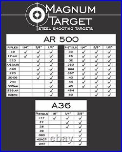 8in. 3/8in. AR500 Hardened Metal Gongs Steel Shooting Range NRA Pistol Targets