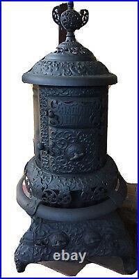 ANTIQUE CAST IRON BLACK RADIANT WOOD BURNING STOVE 1897 Pat