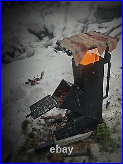 American Made Camping/Survival Rocket Stove (With Rotating Grill Top)