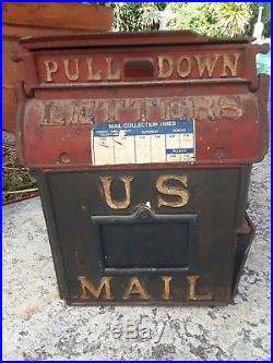 Antique 1889 Cast Iron U. S. Mail Box Reading Stove Works Letters Post Office