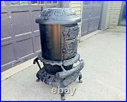 Antique Cast Iron Round Oak D18 Dowagiac MI Beckwith Wood Burner Stove RESTORED