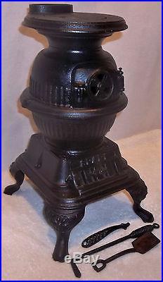 Antique Spark Miniature Cast Iron Pot Belly Stove Grey