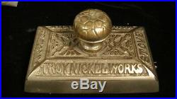 Antique Troy Nickelworks Stove Co. Cast Iron Paperweight