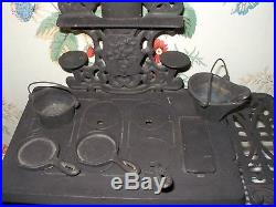 Antique c. 1900 HOME Cast Iron Toy Stove, J & E Stevens, CLOCK on Oven Door