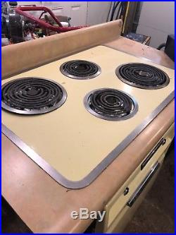 Antique, vintage Yellow, 1950's GE (general electric), wall oven stove, cook top
