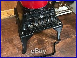 Atlanta Stove Works # 40 Antique Two -Tone Red Black Enamel Pot Belly Stove