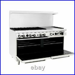 Atosa USA ATO-6B24G 60 Gas Restaurant Range, (2) Standard Ovens, (6) Open Bu