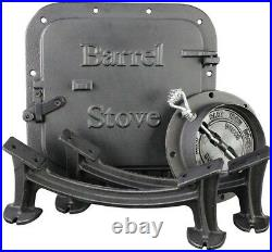 Barrel Stove Kit Cast Iron Legs Door 55 Gallon Steel Drum Wood Burner Heater