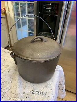 Birmingham Stove And Range Cast Iron #8 Flat Bottom Pot With Lid