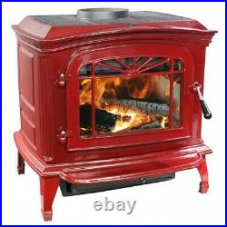 Breckwell Cast Iron Wood Stove RED Enamel Porcelain Fireplace Refurbished
