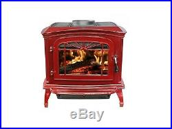 Breckwell SWC21R Red Porcelain Enameled Cast Iron Wood Stove Fireplace