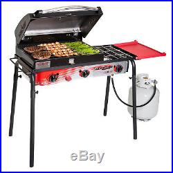 Camp Chef SPG90B 3 Burner Stove Barbecue Gas Grill with 16 Cast Iron Burner Box