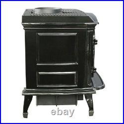 Cast Iron Wood Stove Black Enamel Porcelain Fireplace Refurbished SWC21B