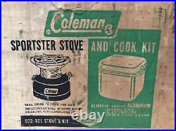 Coleman 502 Single-Burner Camp Stove 1/64 w Metal Case Cook Kit & Original Boxes