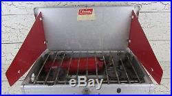 Coleman Aluminum Dual Burner Camp Stove Airstream Red Fuel Tank 442 Vintage USA
