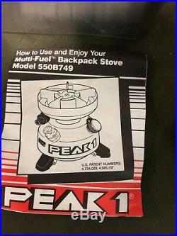 Coleman Peak 1 Multi Fuel Camp Stove 550B NSN 7310-01-412-7813 Marine Corps Kit