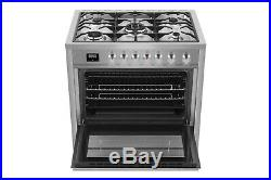Empava 36 Single Oven Gas Range 5 Burners Cooktop 120V Stainless Steel Cooker