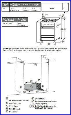 Empava 36 Slide-In Freestanding Single Oven Gas Range with 5 Burner Cooktop