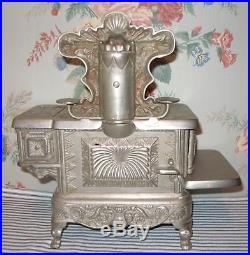 FANCY c. 1900 PRIZE Cast Iron Toy Stove, J & E Stevens, Nickel-Plated Antique