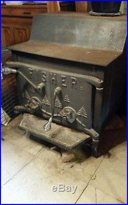 Fisher Wood Stove, Rare Grandma Bear Heater, Good Bricks