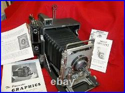 Graflex Crown Graphic 4 x 5 Camera WithOptar 4.7 135mm Lens + Kalart Range + book