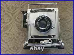 Graflex Crown Graphic 4x5 Large Format Camera 135mm f4.7 Optar Lens Range Finder