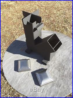 Gravity Feed Rocket Stove with caps by Outback Fabrications