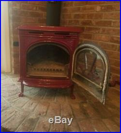 Hudson River Stove Works Red Burgundy Catskill Model Wood Stove with Glass Door