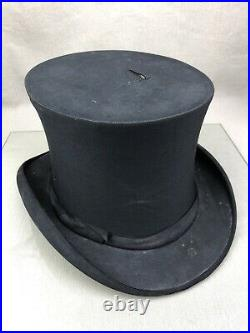 KNOX Collapsible Top Hat Vintage Pop-Up Black Stove Pipe Steampunk Size 7 ish