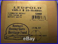 LEUPOLD VARI-X III LONG RANGE M1,3.5-10x40mm Rifle Scope, Illuminated, 53668, RARE