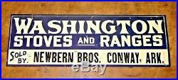 Lot #1 Vintage Antique Advertising Sign Washington Stoves Ranges Conway Arkansas