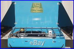 NOS Vintage Sears Roebuck Blue Two Burner Camping Stove #72301